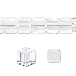bead, celestial crystal, 18-facet, clear, 8x8mm faceted cube. sold per 16-inch strand.