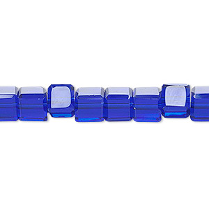 bead, celestial crystal, 18-facet, cobalt, 6x6mm faceted cube. sold per 16-inch strand.