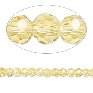 bead, celestial crystal, 32-facet, light yellow, 4mm faceted round. sold per 16-inch strand.