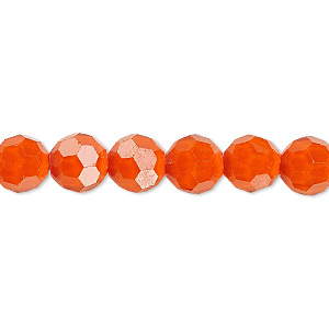 bead, celestial crystal, 32-facet, opaque orange, 8mm faceted round. sold per 16-inch strand.