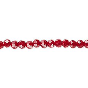 bead, celestial crystal, 32-facet, opaque red, 4mm faceted round. sold per 16-inch strand.