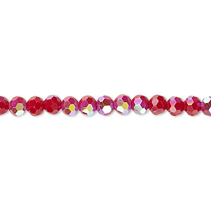 bead, celestial crystal, 32-facet, opaque red ab, 4mm faceted round. sold per 16-inch strand.