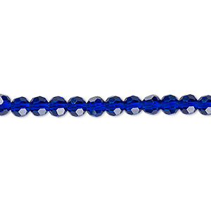 bead, celestial crystal, 32-facet, translucent cobalt, 4mm faceted round. sold per 16-inch strand.
