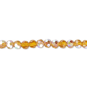 bead, celestial crystal, 32-facet, transparent gold ab, 4mm faceted round. sold per 16-inch strand.