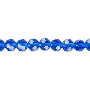bead, celestial crystal, 32-facet, transparent medium blue, 6mm faceted round. sold per 16-inch strand.