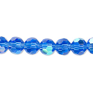 bead, celestial crystal, 32-facet, transparent medium blue ab, 8mm faceted round. sold per 16-inch strand.
