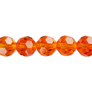 bead, celestial crystal, 32-facet, transparent orange, 10mm faceted round. sold per 16-inch strand.