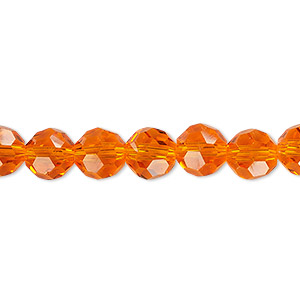 bead, celestial crystal, 32-facet, transparent orange, 8mm faceted round. sold per 16-inch strand.