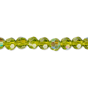 bead, celestial crystal, 32-facet, transparent peridot green ab, 6mm faceted round. sold per 16-inch strand.