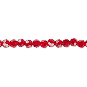 bead, celestial crystal, 32-facet, transparent red, 4mm faceted round. sold per 16-inch strand.