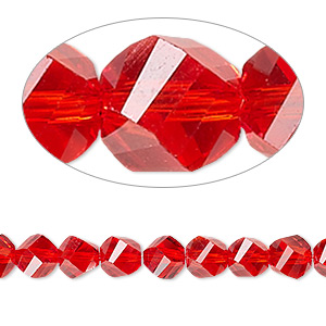 bead, celestial crystal, 34-facet, red, 6mm faceted twisted round. sold per 8-inch strand.
