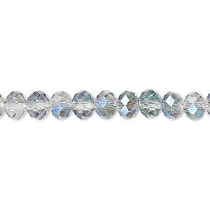 bead, celestial crystal, 48-facet, clear vitrail, 6x4mm faceted rondelle. sold per 16-inch strand.