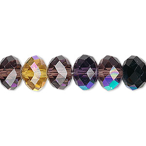 bead, celestial crystal, 48-facet, jewel tones ab, 10x8mm faceted rondelle. sold per 16-inch strand.