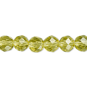bead, celestial crystal, 48-facet, olive, 8mm faceted round. sold per 16-inch strand.
