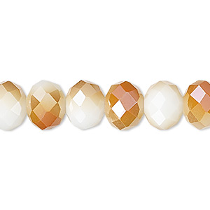 bead, celestial crystal, 48-facet, opaque white with half-coat orange ab, 10x8mm faceted rondelle. sold per 16-inch strand.