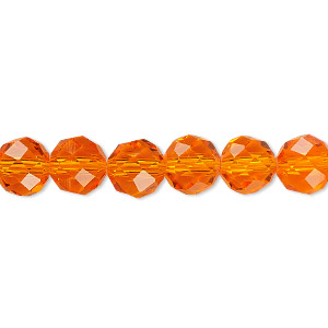 bead, celestial crystal, 48-facet, transparent orange, 8mm faceted round. sold per 16-inch strand.