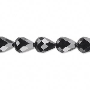 bead, celestial crystal, 56-facet, black, 10x7mm faceted teardrop. sold per 16-inch strand.