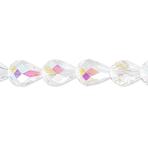 bead, celestial crystal, 56-facet, clear ab, 10x7mm faceted teardrop. sold per 16-inch strand.
