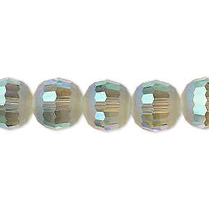 bead, celestial crystal, 96-facet, translucent peacock ab half matte, 12mm faceted round. sold per 8-inch strand, approximately 15 beads.