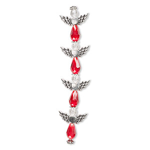 bead, celestial crystal and antique silver-plated pewter (zinc-based alloy), red and clear, 25x22mm angel. sold per pkg of 4.