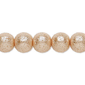 bead, celestial crystal and moonscape™, glass pearl, champagne, 10mm textured round. sold per pkg of (2) 16-inch strands.