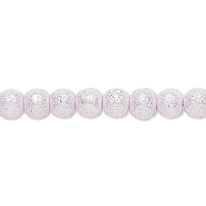 bead, celestial crystal and moonscape™, glass pearl, lilac, 6mm textured round. sold per pkg of (2) 16-inch strands.