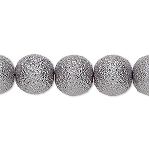 bead, celestial crystal and moonscape™, glass pearl, pewter, 12mm textured round. sold per 16-inch strand.