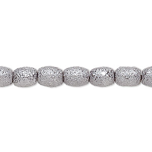 bead, celestial crystal and moonscape™, glass pearl, pewter, 7x6mm textured barrel. sold per pkg of (2) 16-inch strands.