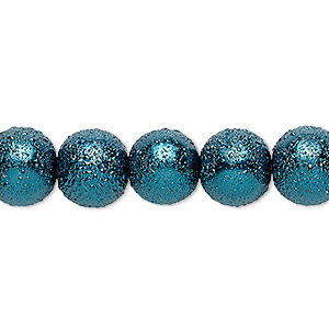 bead, celestial crystal and moonscape™, glass pearl, teal, 10mm textured round. sold per pkg of (2) 16-inch strands.