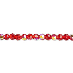 bead, celestial crystal, glass, 32-facet, red ab, 4mm faceted round. sold per 16-inch strand.
