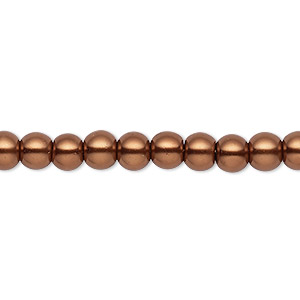 bead, celestial crystal, glass pearl, antique copper, 5-6mm round. sold per pkg of (2) 16-inch strands.