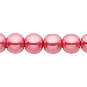 bead, celestial crystal, glass pearl, bright pink, 10mm round. sold per pkg of (2) 16-inch strands.