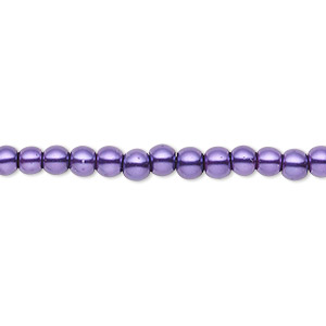 bead, celestial crystal, glass pearl, deep purple, 3-4mm round. sold per pkg of (2) 16-inch strands.