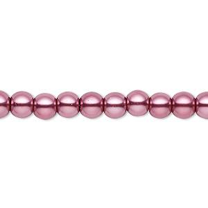 bead, celestial crystal, glass pearl, dusty rose, 5-6mm round. sold per pkg of (2) 16-inch strands.