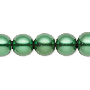 bead, celestial crystal, glass pearl, forest green, 11-12mm round. sold per 16-inch strand.