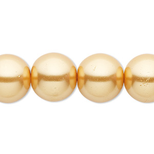 bead, celestial crystal, glass pearl, gold, 14mm round. sold per 16-inch strand.