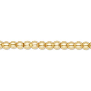 bead, celestial crystal, glass pearl, gold, 4mm round. sold per pkg of (2) 16-inch strands.