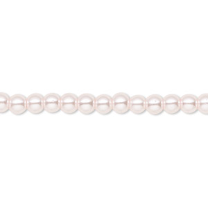 bead, celestial crystal, glass pearl, light pink, 4mm round. sold per pkg of (2) 16-inch strands.