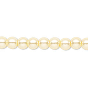 bead, celestial crystal, glass pearl, light yellow, 6mm round. sold per pkg of (2) 16-inch strands.