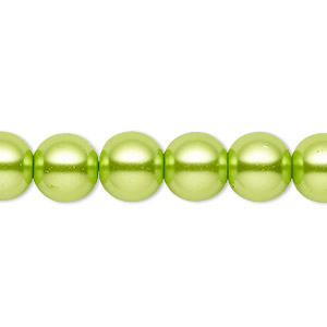 bead, celestial crystal, glass pearl, lime green, 9-10mm round. sold per pkg of (2) 16-inch strands.