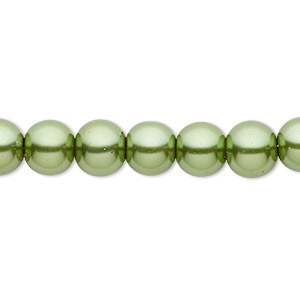 bead, celestial crystal, glass pearl, medium green, 8mm round. sold per pkg of (2) 16-inch strands.