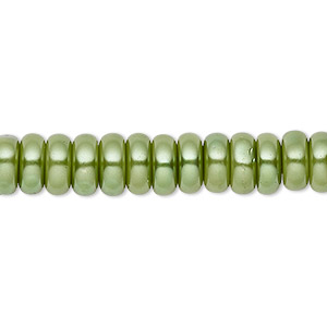 bead, celestial crystal, glass pearl, medium green, 8x3mm rondelle. sold per pkg of (2) 16-inch strands.