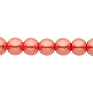 bead, celestial crystal, glass pearl, orange-red, 8mm round. sold per pkg of (2) 16-inch strands.