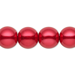 bead, celestial crystal, glass pearl, red, 13-14mm round. sold per 16-inch strand.