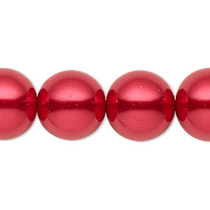 bead, celestial crystal, glass pearl, red, 15-16mm round. sold per 16-inch strand.