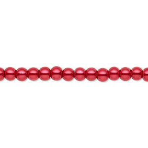 bead, celestial crystal, glass pearl, red, 3-4mm round. sold per pkg of (2) 16-inch strands.