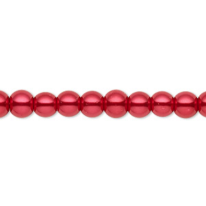 bead, celestial crystal, glass pearl, red, 5-6mm round. sold per pkg of (2) 16-inch strands.
