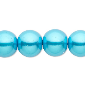 bead, celestial crystal, glass pearl, turquoise blue, 14mm round. sold per 16-inch strand.