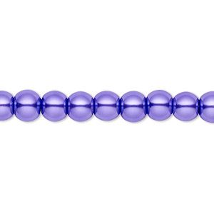 bead, celestial crystal, glass pearl, violet, 6mm round. sold per pkg of (2) 16-inch strands.