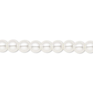 bead, celestial crystal, glass pearl, white, 6mm round. sold per pkg of (2) 16-inch strands.